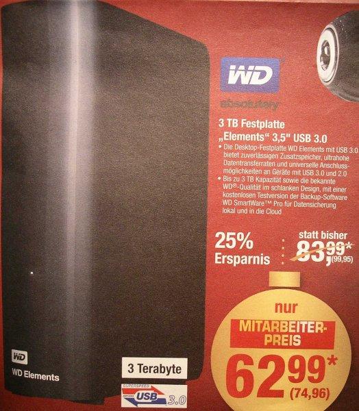[Metro] Western Digital Elements Desktop schwarz 3TB für 74,96€ – Externe 3,5 Zoll USB 3.0 Festplatte