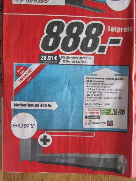 [Lokal Freiburg] Sony Bravia KDL-60W605 + Soundbar + Sub für 888 Euro Abholpreis bei Media-Markt - 60Zoll, 400Hz, LED, FullHD