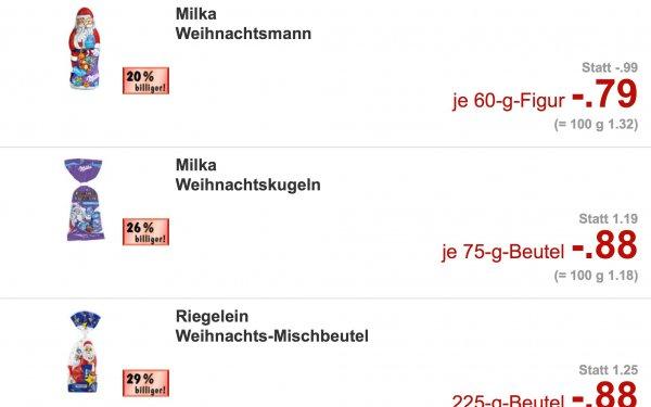 Kaufland 4x 60g Weihnachtsmann Milka für 0,54€/Stück Düsseldorf