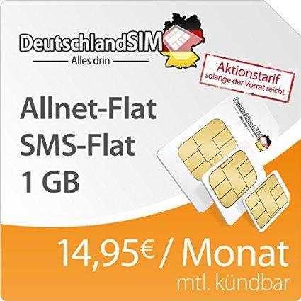 DeutschlandSIM o2 Allnet-Flat + 1 GB nur 14,95 Euro / Monat - Amazon Blitzdeals - Cyber Monday