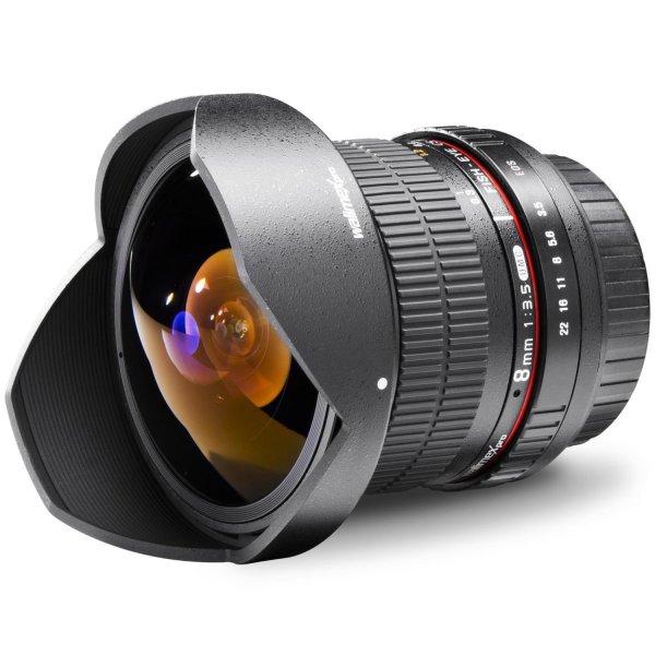 Kracher: Walimex Pro 8 mm 1:3,5 DSLR Fish-Eye II Objektiv für Canon EF-S - 204,83€ Bestpreis