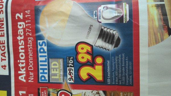 [Lokal] Philips LED Lampe, E27, 600 Lumen bei Segmüller Weiterstadt