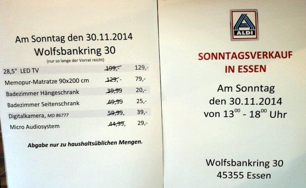 [Lokal Essen] 28,5 Zoll LED TV am So 30.11.14 bei Aldi Nord