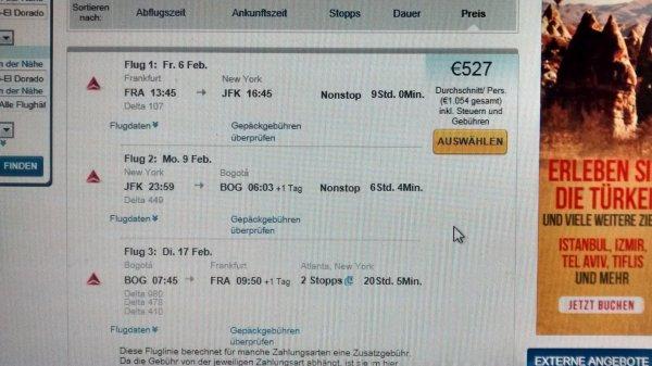 Frankfurt nach Bogota mit Stopp in NY