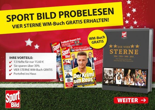 Super Angebot! Vier Sterne WM-Buch + Sport Bild Probeabo für nur 15,60€!