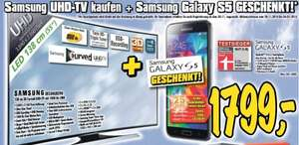 (lokal) Samsung UE55HU8290 curved 4k LED TV + gratis Galaxy S5