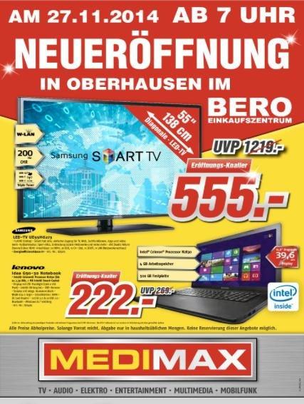 Medimax Neueröffnung Oberhausen. Z.B. Samsung UE55H6273 555€, S3 mini 99€, ..