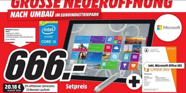 [LOKAL MÜNCHEN] MICROSOFT Surface Pro 3 - 64 GB i3  + Office 365 für 666,00€ @ Media Markt