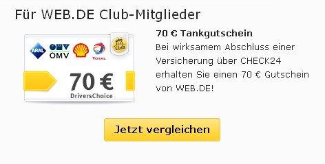 [web.de] 50 bzw. 70 Euro Tankgutschein (DriversChoice) für Kfz-Versicherung über Check24.de