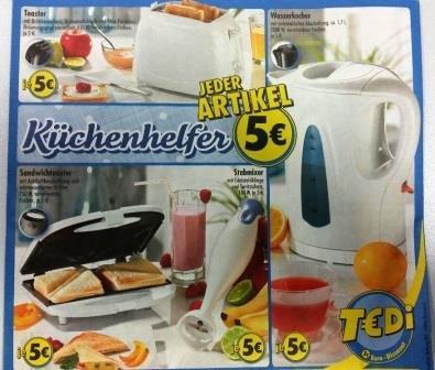 (bundesweit) Küchenhelfer, Wasserkocher, Toaster, Sandwichmaker, Stabmixer je 5,-