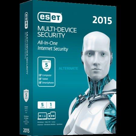 """ESET Sicherheitssoftware """"Multi Device Security 2015"""" Lizenz für 5 Geräte 21,99 EUR"""