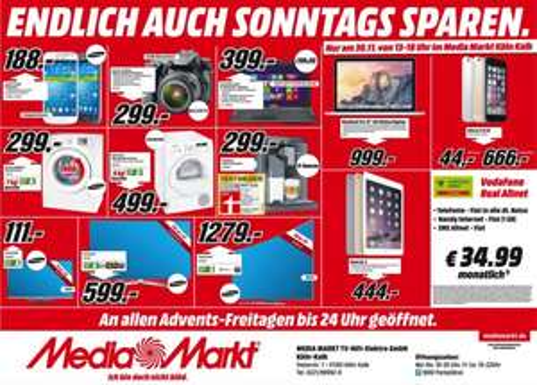 """[Lokal] 13"""" Macbook Pro Retina 8GB 128GB Mediamarkt Köln Kalk am 30.11.14 und andere Angebote"""