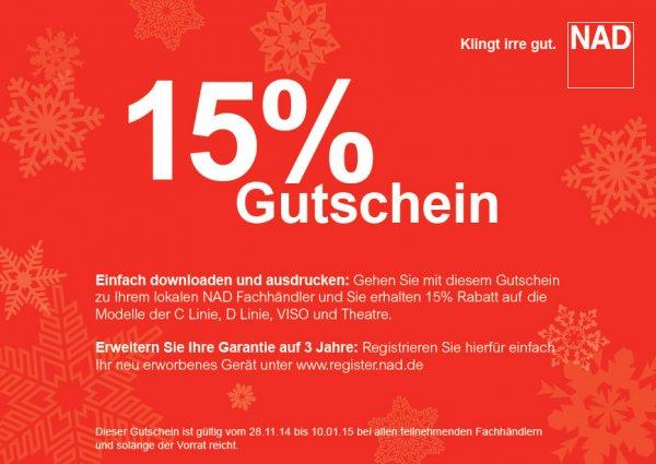 15% Rabatt auf NAD (Verstärker, CD- und Blurayplayer)
