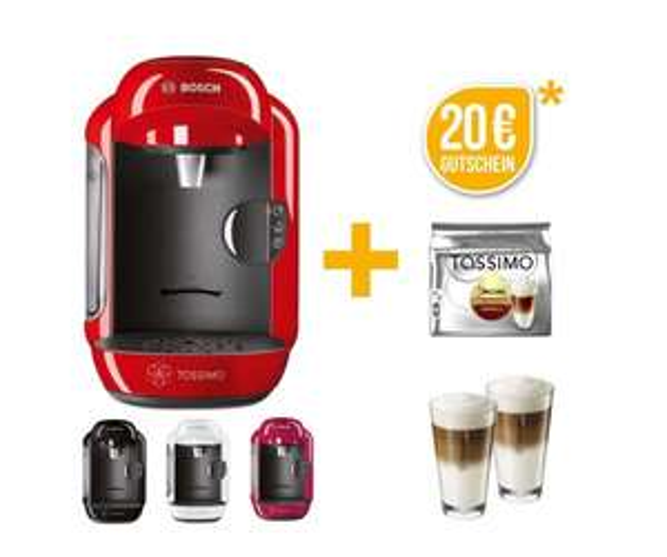 Bosch TASSIMO VIVY + 20€ Gutschein* +1x T Disc + WMF Gläser Heißgetränkemaschine für 29,90€ inkl VSK @Ebay
