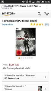 [Amazon.de] Tomb Raider 1,99€ SteamKey PC