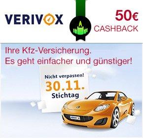 [Qipu] erhöht Cashback auf 50€ bei KFZ Versicherungswechsel über Verivox