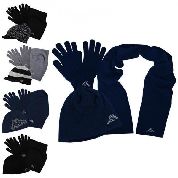 Kappa Strick Winter-Set Mütze Schal Handschuhe Schwarz, Navy, Grau @ebay