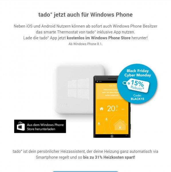 Black Friday Tado intelligente Heizungssteuerung für iOS, Android & jetzt NEU auch für Windows (Alternative RWE) 15% Rabatt