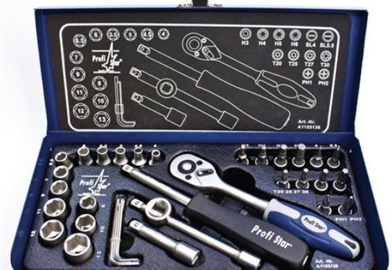 [3% Qipu] Faubel Steckschlüsselsatz ¼ Zoll, 35-tlg., 4-13mm CV Stahl, in Stahlblechkasten + 31 tlg. Faubel Bit-Sortiment für 19,99€ frei Haus von Zoro Tools  über Dealclub Black Friday
