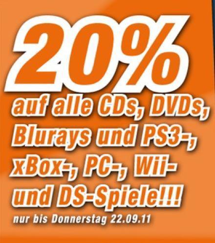 [REGIONAL] OFFLINE bei Expert - 20% auf CDs, DVDs, Blu-Rays sowie PS3-, XBOX360-, PC-, WII- & DS-Spiele