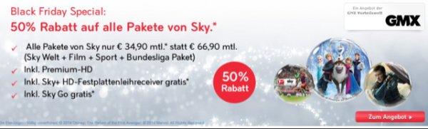 SKY - Black Friday Angebot bei gmx.de Vorteilswelt - alles für 50% - 34,90 komplett