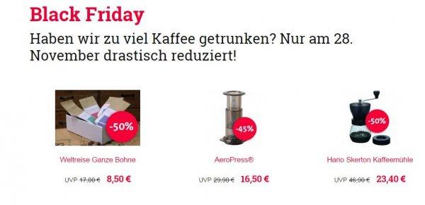 50% auf Kaffeespezialitäten und Kaffeezubehör bei sonntagmorgen.com