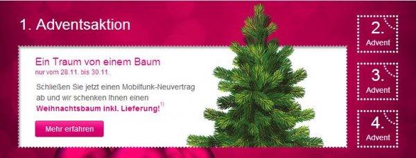 Telekom verschenkt einen Weihnachtsbaum bei Mobilfunk-Vertragsabschluss