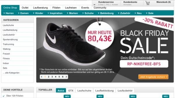 @Runners Point online - Nike Free 5.0 schwarz für 80,43 - nur heute