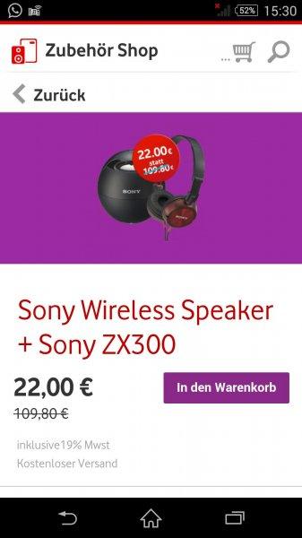 Sony Wireless Speaker + Headset @Vodafone Zubehör app
