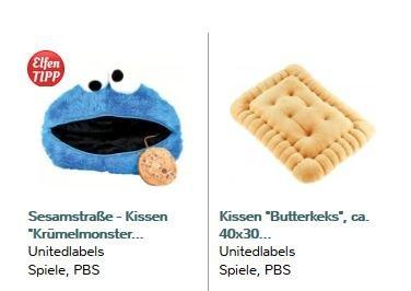 Artikel zum Weiterschenken:  Krümelmonster- + Kekskissen zusammen für 14,89€ statt 30€. Nix VSK
