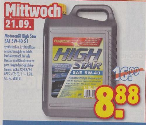Motoröl High Star SAE 5W-40 5L bei Praktiker, NUR Mittwoch 21.09.11