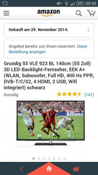Grundig 55 VLE 923 BL 140cm (55 Zoll) 3D LED-Backlight-Fernseher,
