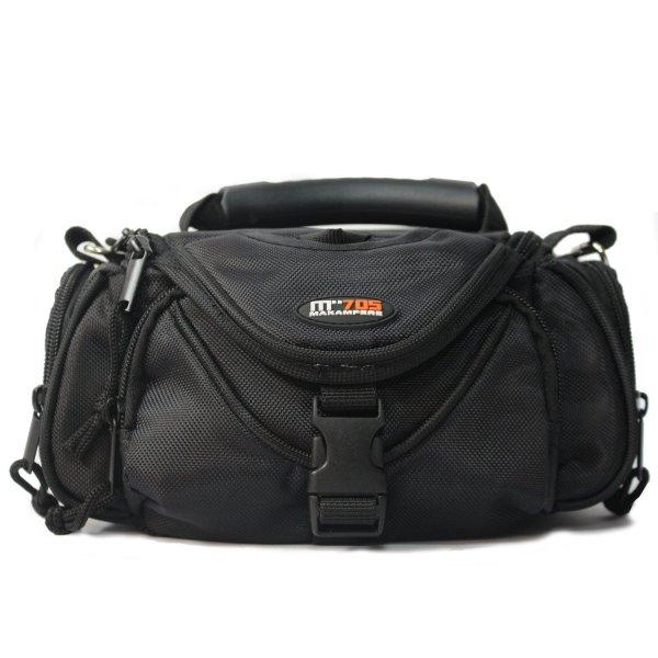 Kameratasche / Fototasche für Kompakt- Systemkameras mit orangen Innenfutter - schwarz