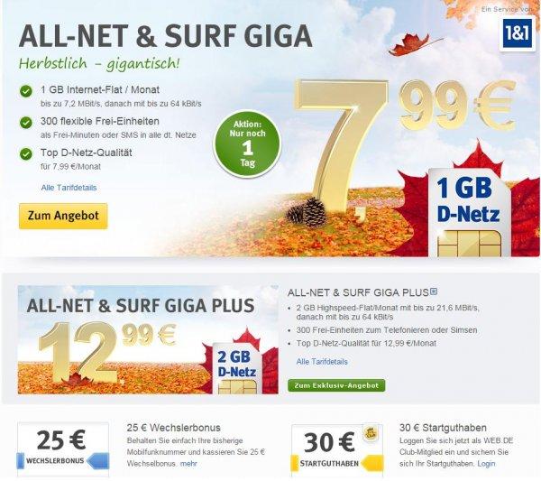 1GB DatenFlat, 300 Sms/Min Einheiten, D-Netz, 7,99 bei 1und1