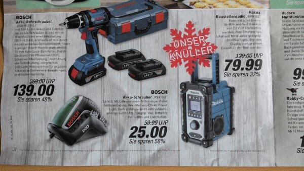 [LOKAL Marktkauf u.a. OWL] Bosch IXO 25 EUR, Bosch Akkubohrschrauber GSR18-2-Li mit 3 Akkus 139 EUR, Makita BMR102 Baustellenradio 80 EUR