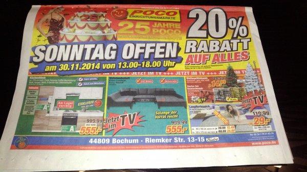 [Bochum Poco] 20% Rabatt am verkaufsoffenen Sonntag 30.11.2014