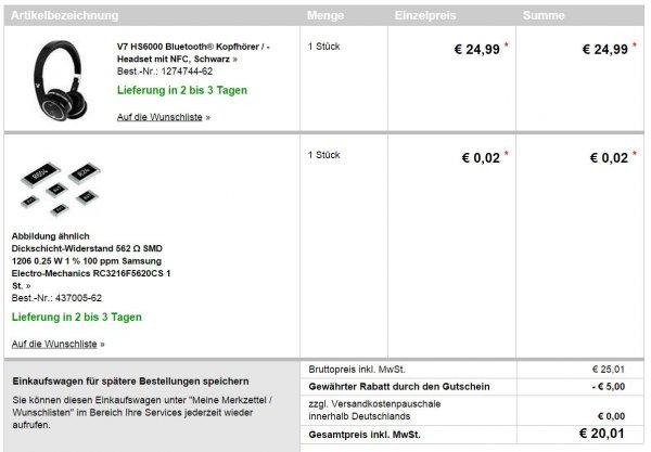 V7 HS6000 Bluetooth-Kopfhörer/-Headset mit NFC für 20,01€ @conrad.de