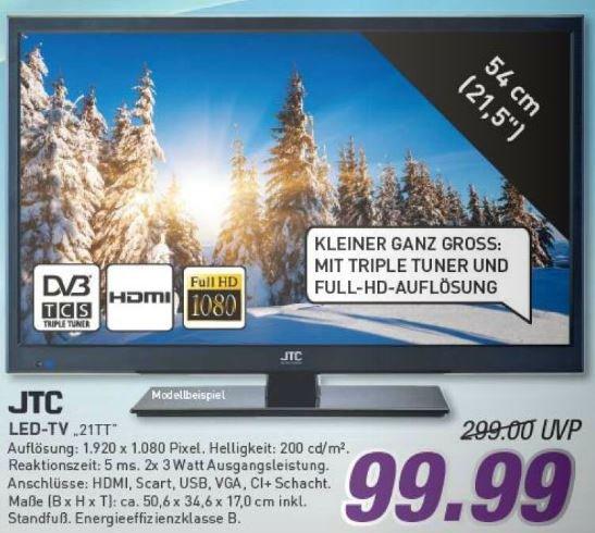"""[Lokal Marktkauf Bielefeld] JTC 21tt LED Fernseher, 21,5"""" LED-TV mit Triple Tuner DVB-T/C/S, Full-HD, HDMI, USB-Medienplayer"""
