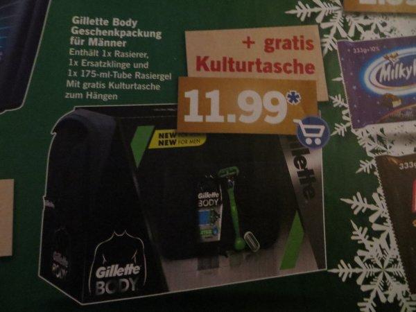 Gillette Body Duo Geschenkset mit Kulturtasche - Body Rasiergel + Rasierer mit Ersatzklinge + Kulturtasche zum Hängen für 11,99 € ab 4.12.2014 bei Lidl