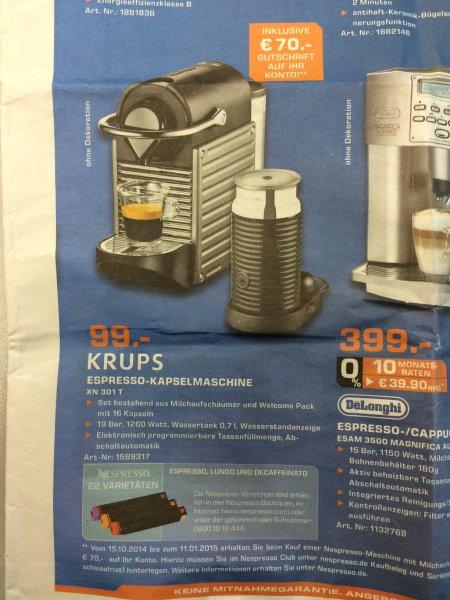 Lokal Aachen: Krups Nespresso Maschine + Aerocino 3 (XN301T) - Effektiv 29,- €