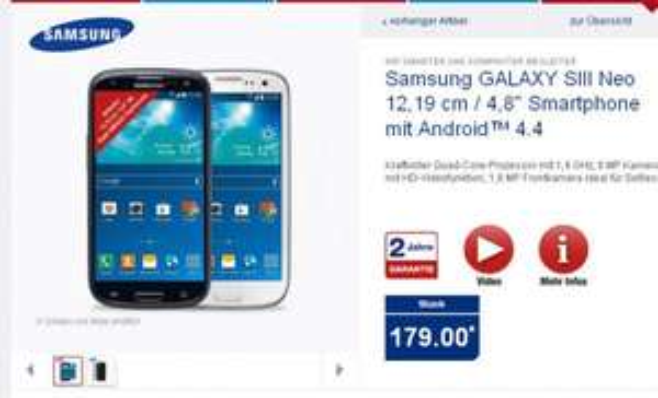 [ALDI Nord/Süd] Samsung S3 Neo mit Android 4.4. ab Do, 11.12. für nur 179 €