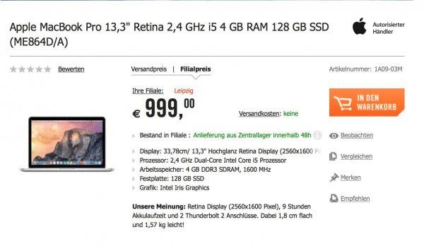 Macbook Pro Retina 13 4GB RAM 128GB SSD @cyberport