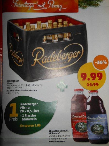 Kasten Radeberger 20x0,5-Liter +1Liter Dresdner Striezel Glühwein ab 02.12. Penny, Dresden Marienberger Str.