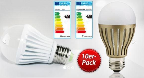 [DailyDeal] LEDs 10er Pack E27 Leuchtmittel 630 lm für 29,95€