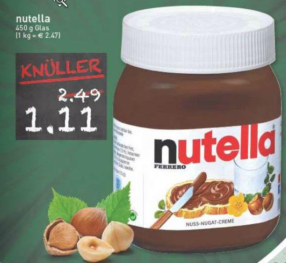 [Lokal Marktkauf Gütersloh] Nutella 450g für 1,11 EUR (2,47 EUR/kg), evtl. erst ab Donnerstag?