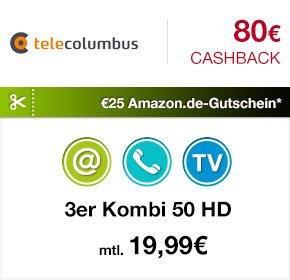 [Qipu] Tele Columbus 3er Kombi 50 HD – 80€ Cashback + einen €25 Amazon.de-Gutschein
