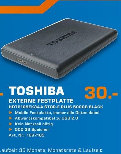 "Toshiba Stor.e Plus 500GB 2,5"" für 30€,Intenso Memory Point 3,5"" 3TB für 80€ LOKAL @ Saturn Aachen"