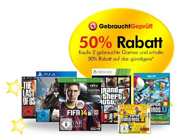 Gamestop Adventskalender Tag 2 -  Kaufe 2 gebrauchte Spiele und erhalte 50% Rabatt auf das günstigere