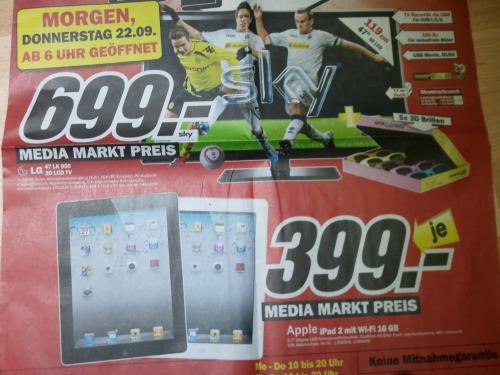 MediaMarkt Köln Kalk (Lokal) iPad 2 16GB Wifi 399 €