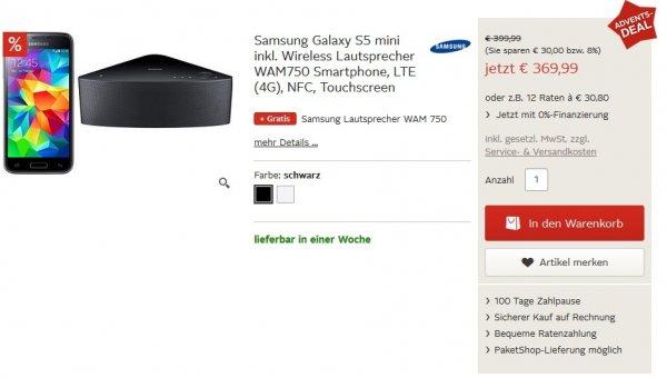 [OTTO.DE] Samsung Galaxy S5 mini + Samsung M7 WAM750 Bluetooth Lautsprecher für 375,94€ bzw. 357,44€ mit 5% Sparvorteil